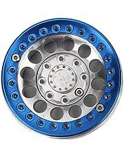 Beadlock Velgen, Aluminium Beadlock Velgen Hubs 4 Stuks RC Accessoires RC Crawler Velgen 1.9in RC Wielnaaf, voor SCX10 1/10 RC Crawler Auto(Silver blue)