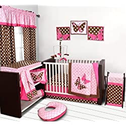 Butterflies pink/chocolate 10 pc Crib Set Bumper free