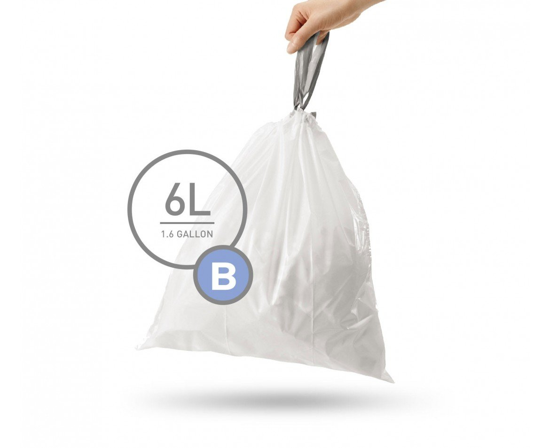 simplehuman Code B Custom 12 Refill Fit Liner (Pack of 360), 6 L/1.6 Gallon, White