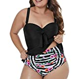 a9e060340ce1a CILKOO Womens Plus Size Halter Neck Peplum Tankini Two Piece Bathing Suit  Swimwear Swimsuit(M