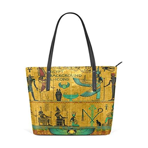 COOSUN Conjunto De egipcia antigua Deidades cuero de la PU del hombro del monedero del bolso y bolsos bolsa de asas para las mujeres Medio multicolor