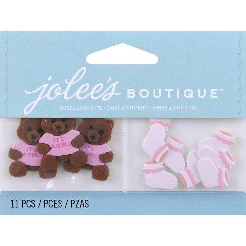 Girl Embellishments (Jolee's Boutique Scrapbooking Embellishment, Baby Girl Bear and Booties)