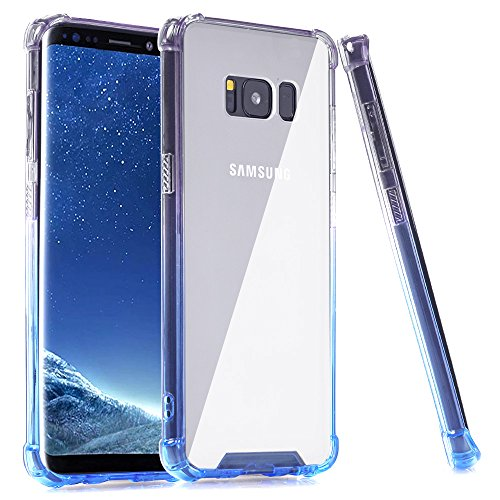 Galaxy S8 Plus Case, BAISRKE Clear Blue Gradient Shock Absorption Flexible TPU Soft Edge Bumper Anti-Scratch Rigid Slim Protective Cases Hard Plastic Back Cover for Samsung Galaxy S8 Plus (Soft Plastic Tpu Case)