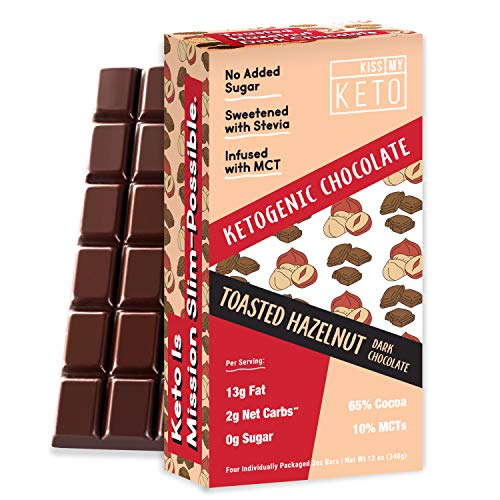 Kiss My Keto Low Carb Keto Chocolate, Toasted Hazelnut Keto Snack (4x3oz bars) A Perfect Sweet Treat with MCT Oil for Ketogenic Diet Support Sugar-Free, Keto Friendly Foods - No Artificial Ingredients