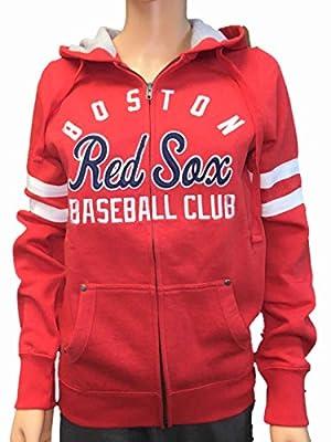 Boston Red Sox SAAG Women Red Fleece Zip Up Thermal Hoodie Jacket