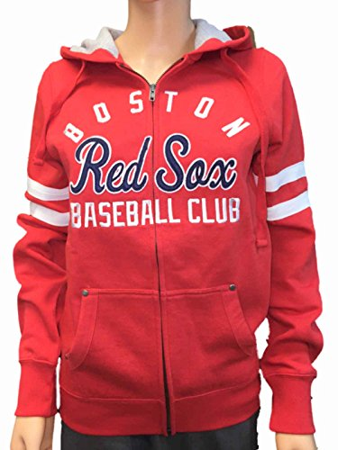 Boston Red Sox SAAG Women Red Fleece Zip Up Thermal Hoodie Jacket - Red Hooded Boston Jacket Sox