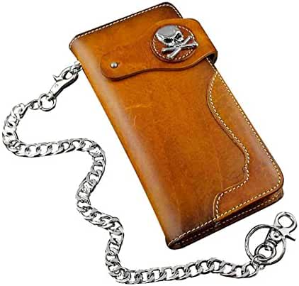 Skull Concho Motorcycle Trucker Rock Men Leather Wallet Purse With Chain
