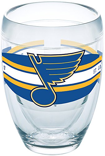 Tervis 1258703 NHL St. Louis Blues Select Insulated Tumbler with Wrap, 9oz Stemless Wine Glass, Clear