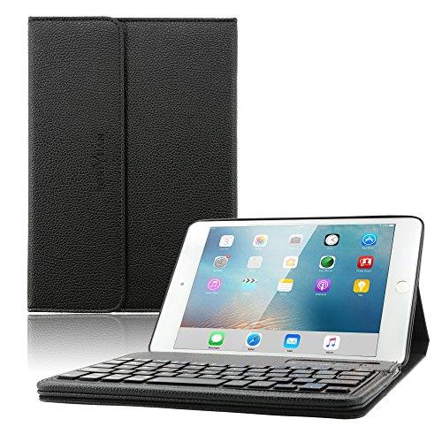 iPad Mini Keyboard Case - Boriyuan iPad Mini Smart Case Stand Folio Leather Cover with Detachable Wireless Bluetooth Keyboard and Screen Protector +Stylus for Apple iPad Mini 1 Mini 2 Mini 3 (Black)
