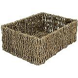 east2eden Rectangular Shallow Seagrass Magazine Shelf Bathroom Storage Basket Hamper (Medium) by east2eden