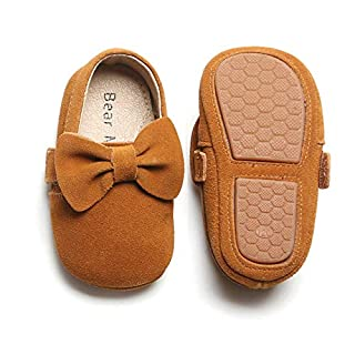 Bear Mall Infant Toddler Baby Moccasins Soft Sole Bowknot Baby Walking Shoes Mary Jane Dress Shoes (12-18 Months Infant, Brown)