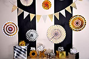 White and Gold Party Pack – Birthday Decorations – New Year's Eve Party – Baby Shower – Wedding – Bachelorette - Photo Props