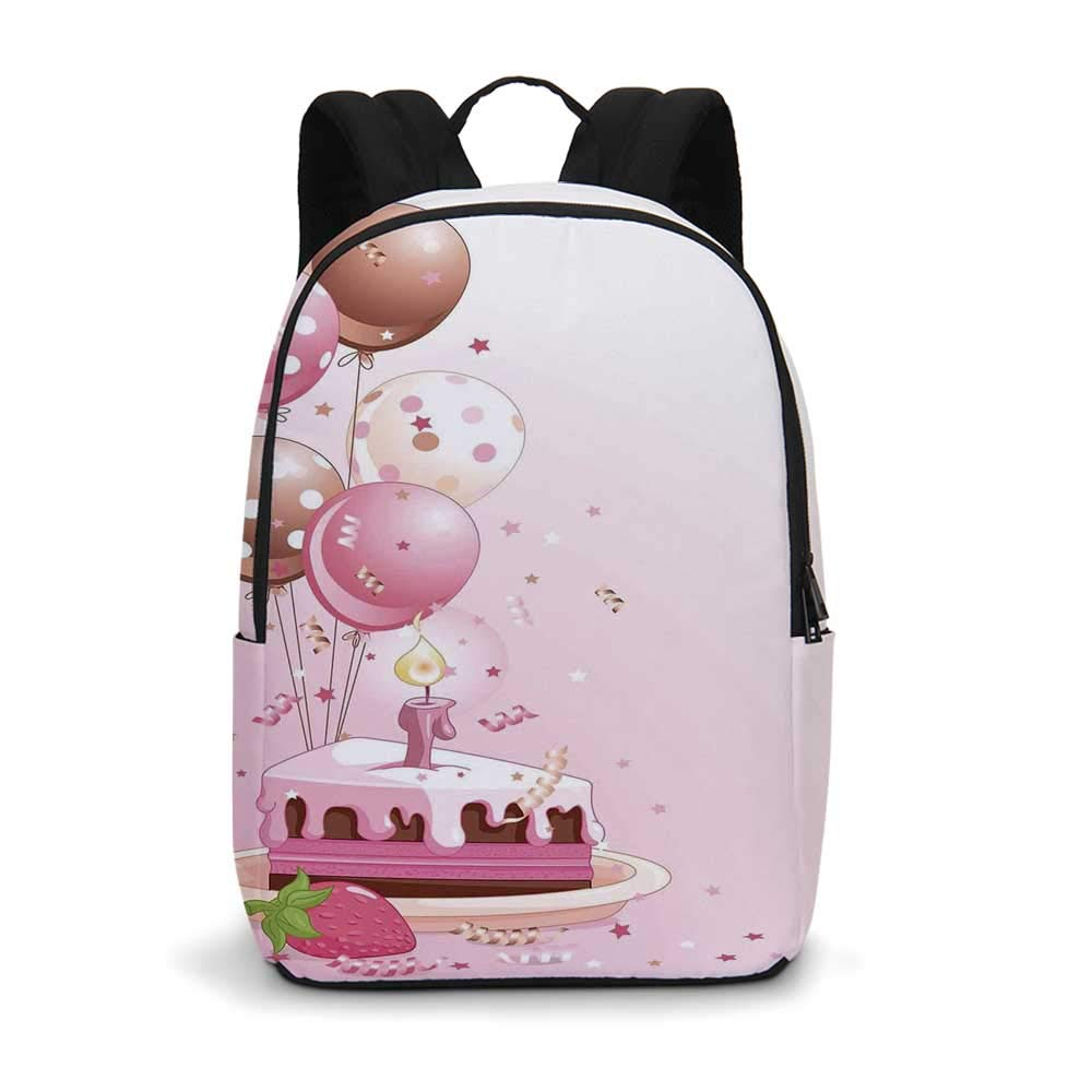 Birthday Decorations Modern simple Backpack,Strawberry Pink Slice of Cake Candle Dotted Balloons and Confetti for school,11.8''L x 5.5''W x 18.1''H