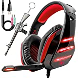 Pro Gaming Headset for PC PS4 Xbox One Surround Sound Over-Ear Headphones with Mic LED Light Bass Surround Soft Memory Earmuffs for Computer Laptop Switch Games Kid?s Boy?s Teen?s Gifts