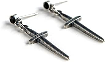 LSXX 925 sterling silver korsörhängen svärdörhängen cyberpunk örhängen metall punk ångörhängen