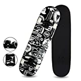 LZETC 31'' Complete Pro Skateboard Canadian Maple for Competition and Sports, Deck of Graffiti Design Black with Free Gift
