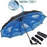 ESUFEIR 10 Ribs Umbrella,Golf Umbrella Large Windproof Umbrella, Compact Auto Open Close Travel Umbrella with Double Layer Design, Sturdy UV Protection Waterproof Umbrella (Blue Sky)