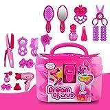 Lanlan Beauty Salon Toys Beauty Case with Hairdryer Comb Perfume Bottle Lipstick Girls Pretend Play Toys Set For Kids
