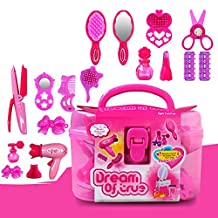 Lanlan Beauty Salon Toys Beauty Case with Hairdryer Comb Perfume Bottle Lipstick Girls Pretend Play Toys Set For Kids