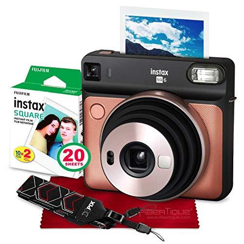 Polaroid Square - Fujifilm instax Square SQ6 Instant Film Camera (Blush Gold) + 20 Sheets Instant Square Film + Xpix Camera Strap + Fibertique Cloth