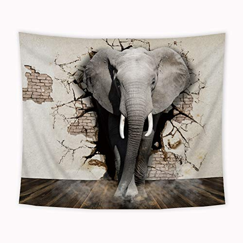 Riyidecor Elephant Tapestry 51x59Inch Broken Wall Tapestry Gray Animal Shabby Chic Tapestry Vintage Civilization Wooden Floor Wall Hanging Indigenous Bedroom Living Room