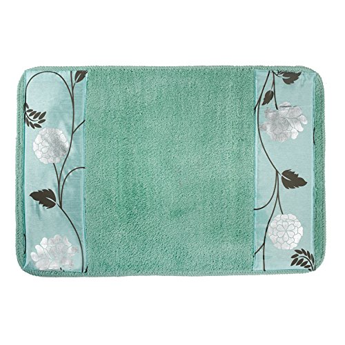 Popular Home The Avanti Collection Banded Bath Rug, 21 by 32 by 1'', Aqua