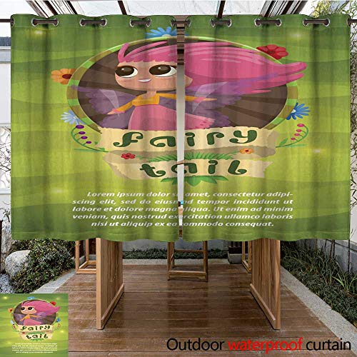 (RenteriaDecor Outdoor Curtain for Patio Leaflet with Floral Round Frame Cute Fairy Pink Hair W96 x L72)