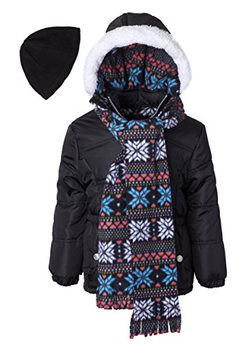 Pink Platinum Little Girls Hooded Winter Bubble Jacket Coat Matching Hat & Scarf, Black, 4 by Pink Platinum (Image #1)