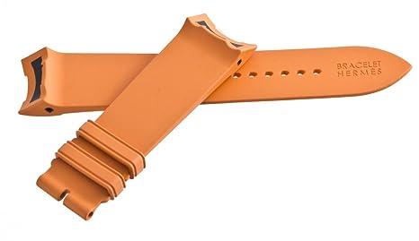 67ef1fa20028 Hermes hombres de la pulsera de caucho naranja correa de reloj banda 22 mm   Amazon.es  Relojes