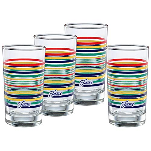 Fiesta Drinking Glasses (Officially Licensed Fiesta Stripes 7-Ounce Juice Glass (Set of 4) (Cobalt)