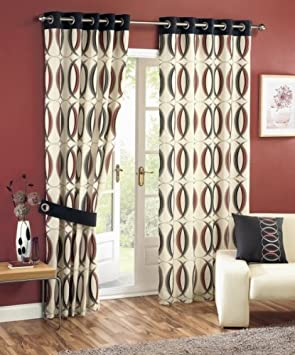 Symmetry Cream Red/Black Readymade Eyelet Lined Curtains - 90