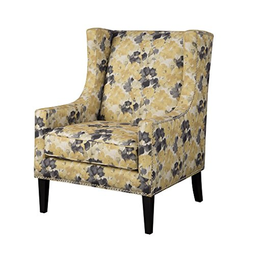 Contemporary Wingback Upholstered Yellow and Gray Floral Print Accent Chair with Nailhead Trim - Includes ModHaus Living Pen (Chair Wingback Yellow)