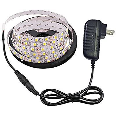 XUNATA 16.4ft Waterproof Flexible LED Light Strip with Power Adapter, 300 Units SMD 5050 12V LED Tape Light Strips for Gardens Homes Kitchen Bar