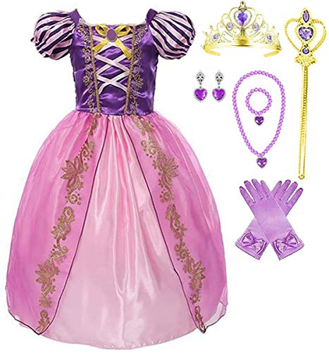 Girls Rapunzel Deluxe Princess Party Dress Costume (6-7, Style 5)