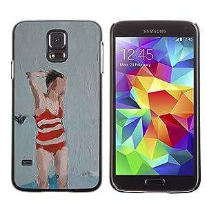 Paccase / SLIM PC / Aliminium Casa Carcasa Funda Case Cover - Bathing Suit Woman Art Painting Red - Samsung Galaxy S5 SM-G900