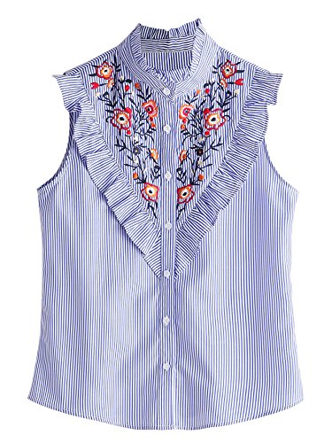 - Floerns Women's Vertical Striped Ruffle Floral Embroidery Blouse Shirts Blue L