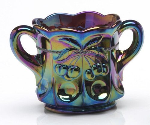 Mosser Glass Cherry Thumbprint Sugar Bowl in Purple Carnival - 4x5.5 Inches