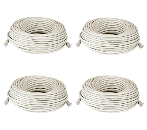 Ethernet Ip Network - (4) 100 Feet Cat5e Ethernet Patch Cables - RJ45 Network Wire Cord for PoE Switch ( 4 Pack, 100 FT - 30.5 Meter )