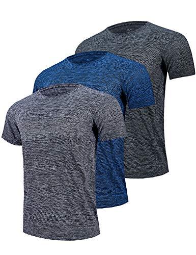 (GEEK LIGHTING Men's Short Sleeve Crewneck T-Shirt, Breathable Mesh Tee (Dark Grey&Grey&Blue, X-Large) )