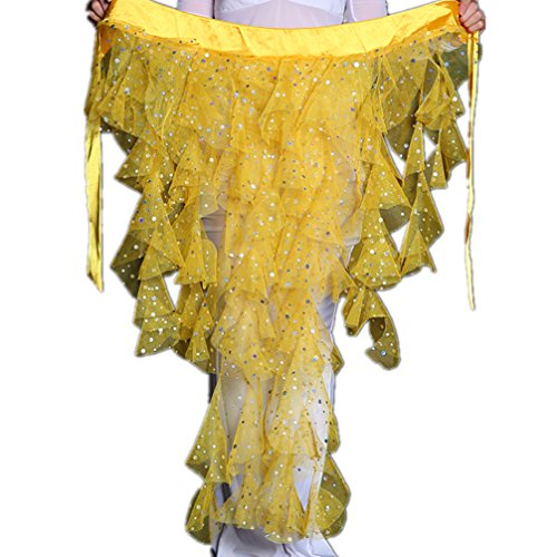 2019 New Egypt Fox Triangle Sequins Dangling Hip Scarf For Belly Dance Cosplay/Halloween Dance Costumes(Yellow) -