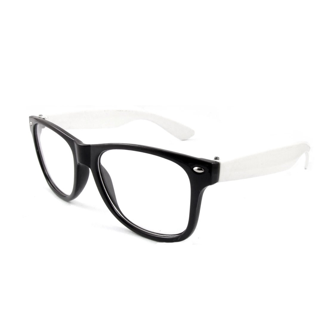 612f817c0ba Men Black Full Frame White Arms Clear Lens Plain Glasses Spectacles   Amazon.co.uk  Health   Personal Care