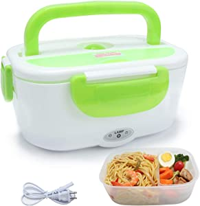 VECH 1.5L Electric Heating Lunch Box Food Storage Warmer Food Heater Portable Lunch Containers Warming Bento for 110V Home Food Grade Material w/PP Removable Container Green