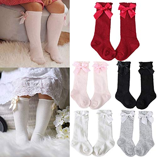 5 Pairs Bow Spanish Baby Girls Kids Knee High Socks Cotton Newborn Socks Kids Toddler Socks Bowknot Party School Stockings 2-4 Year ()
