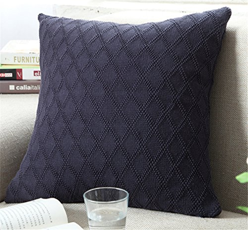 Decorative Cotton Knitted Pillow Case Cushion Cover Double-Cable Knitting Patterns Soft Warm Throw Pillow Covers (Cover Only(18