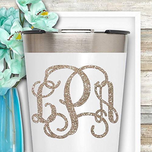 GLITTER Vine Monogram Decal Sticker for Yeti Tumblers Laptop Car Windows IPads Etc.
