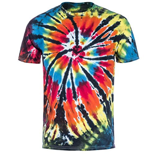Magic River Handcrafted Tie Dye T Shirts - Black Rainbow - Adult XX-Large