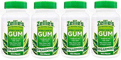 (Zellies Spearmint Gum, 100 Count Jar (Set of 4))