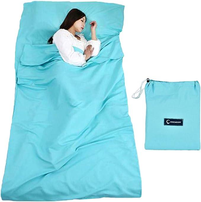 Azul Saco de Dormir Liner,caba/ña Saco de Dormir Saco de Dormir Saco de Dormir con Bolsa Ideal para Interior hostels Caba/ñas albergues Camping Exterior