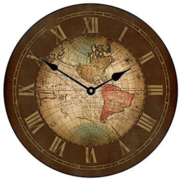 Old world map clock amazon kitchen home old world map clock gumiabroncs Image collections