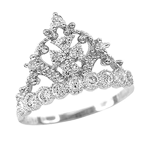 Dainty 10k White Gold Crown Cross CZ Band Ring (Size 5.5) (Religious Gold Crowns)